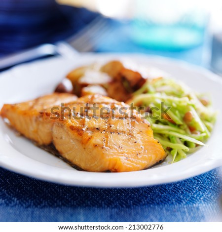 grilled salmon with asian slaw and roasted potatoes - stock photo