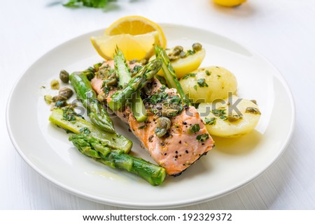 Grilled Salmon with Asparagus and New Potato in Lemon, Parsley and Capers Vinaigrette