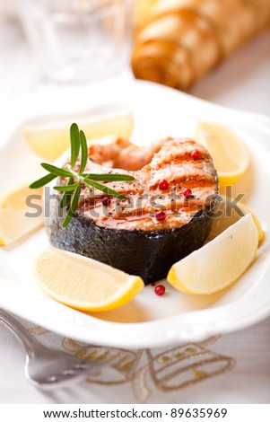 Grilled salmon with lemons for christmas
