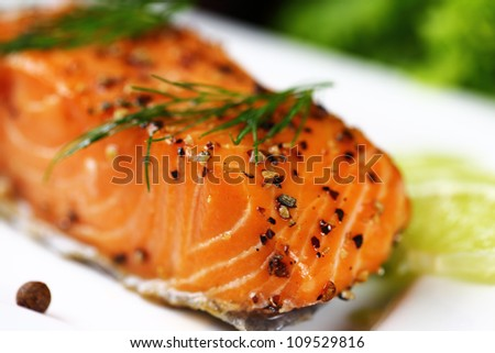 Grilled salmon with lime. - stock photo