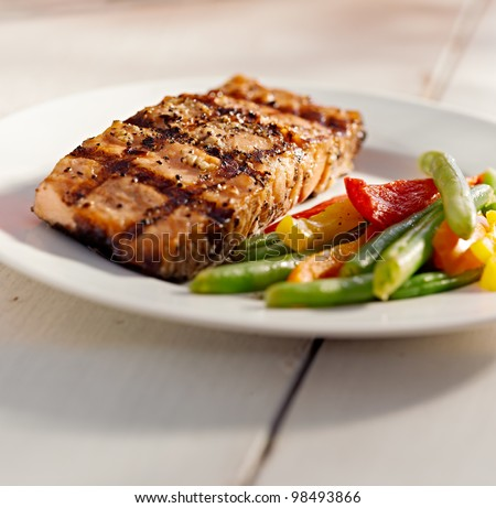 grilled salmon with vegetables with copy-space composition - stock photo