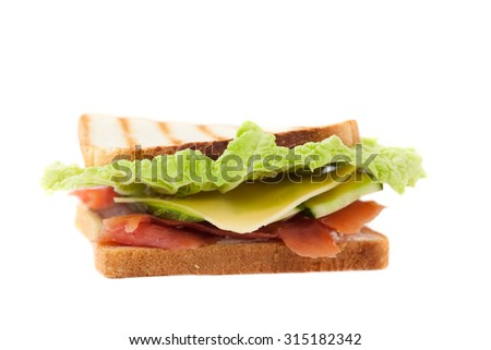 grilled sandwich on a white background - stock photo