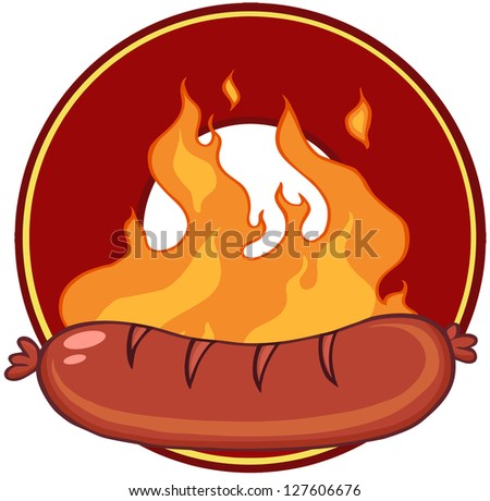 Grilled Sausage And Flames With Banner In Circle. Raster Illustration.Vector Version Also Available In Portfolio.