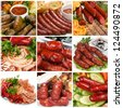Grilled sausage collage. - stock photo