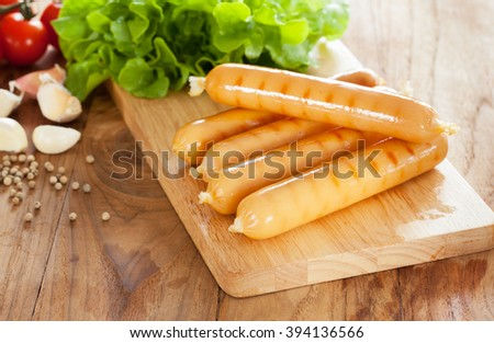 grilled sausage with vegetable - stock photo