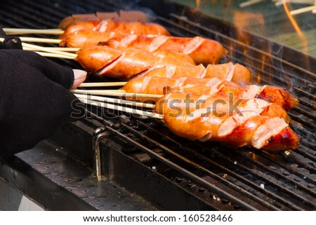 Grilled sausages on the stove