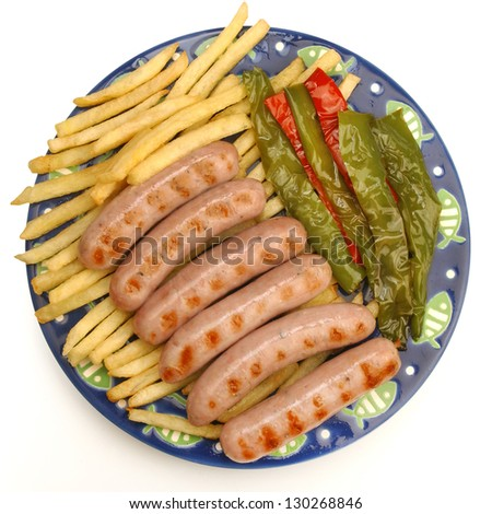 Grilled Sausages with peppers and chips