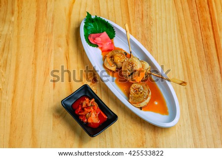 grilled scallops with sauce and Kimchi - stock photo