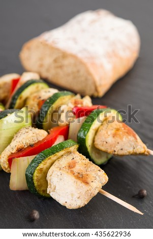 Grilled Shashlik with bread - stock photo