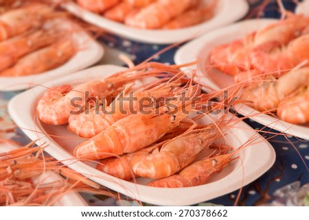 Grilled shrimp seafood in seafood market - stock photo