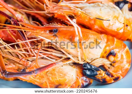 Grilled shrimp seafood of Thailand. - stock photo