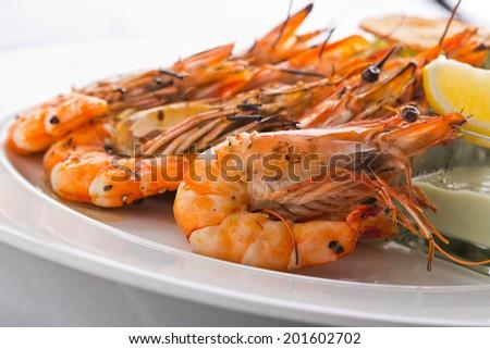 grilled shrimps set - stock photo