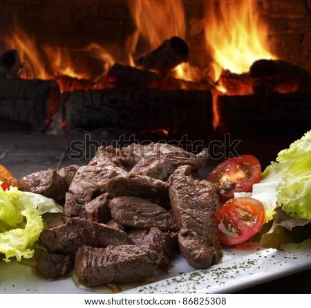 Grilled sirloin steak - stock photo