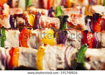 grilled skewers of meat and vegetables - stock photo