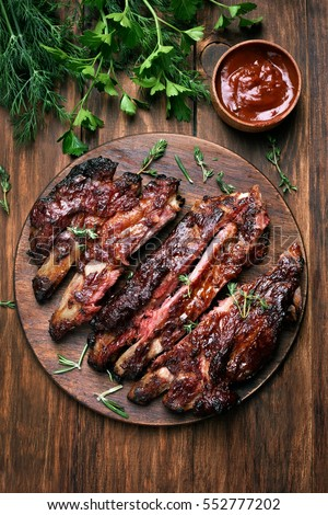 Grilled sliced barbecue pork ribs, top view
