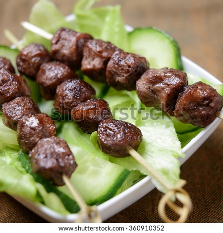 grilled soy meat skewers - stock photo