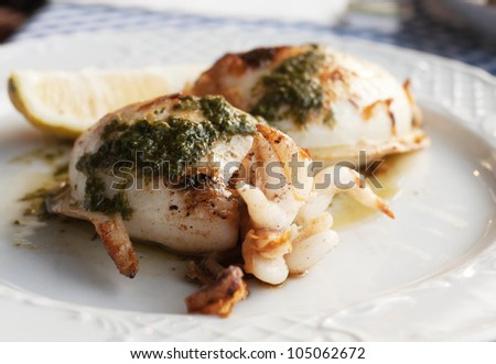 "Grilled squid with special Canarian sauce ""mojo"" and lemon on the plate - stock photo"