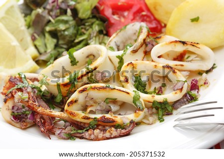 grilled squids with salad - portuguese style - stock photo