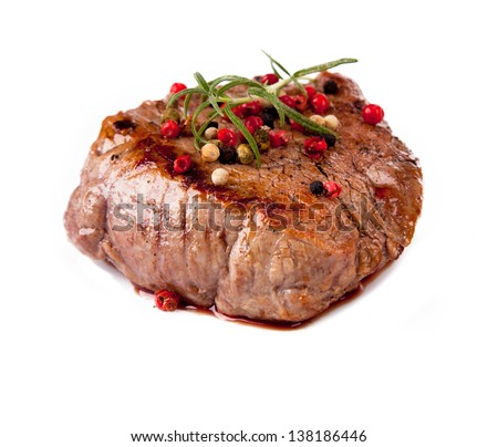 Grilled steak isolated on white background - stock photo