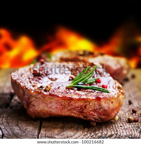 Grilled Steak Meat. Barbecue - stock photo
