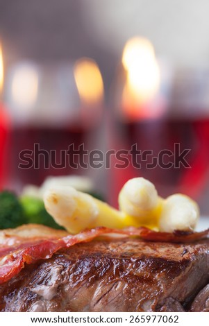 grilled steak with asparagus  - stock photo