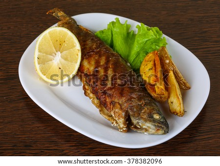 Grilled trout with potato, salad leaves and lemon - stock photo