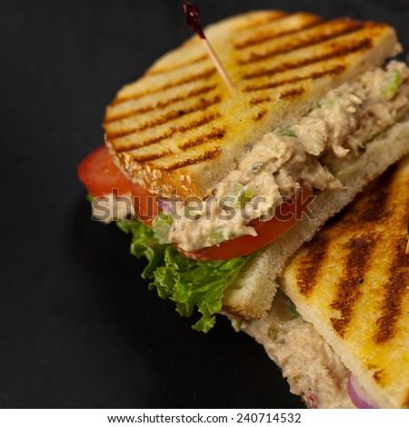 Grilled Tuna Panini Sandwich. Selective focus. - stock photo