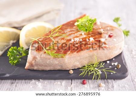 grilled tuna steak - stock photo
