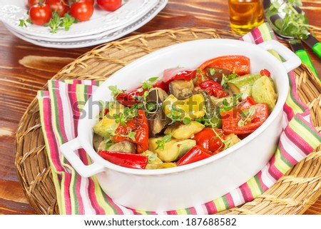 Grilled vegetables. Grilled vegetables  with a balsamic vinaigrette - stock photo