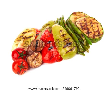 grilled vegetables isolated on a white background  - stock photo