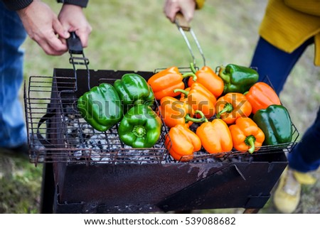 Grilled vegetables on a barbecue grill close-up
