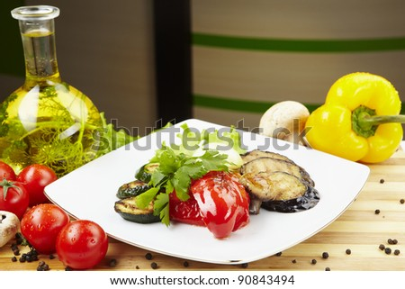 Grilled vegetables. Vegetarian, tasty, useful and nutritious food