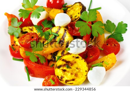 Grilled vegetables with mozzarella cheese. Cherry tomatoes, pepper, eggplant, zucchini served in white plate with fresh herbs. - stock photo