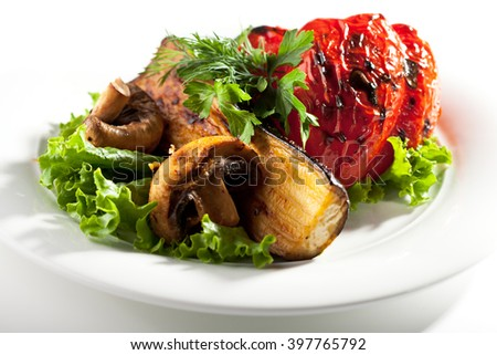 Grilled Vegetables with Parsley and Salad Leaf