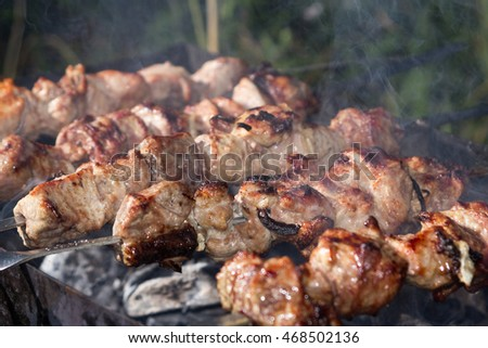 Grilling marinated shashlik on a grill.