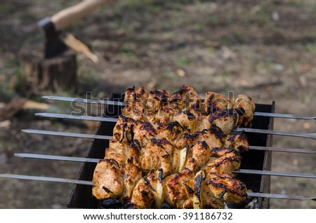 Grilling marinated shashlik on a grill. Roasted meat.