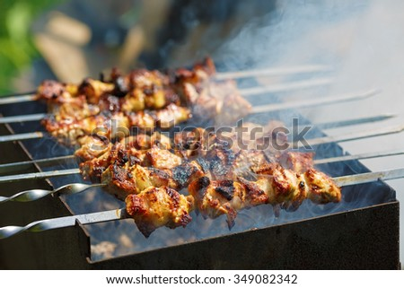 Grilling marinated shashlik with smoke. Skewered meat. Shallow depth of field. Selective focus.