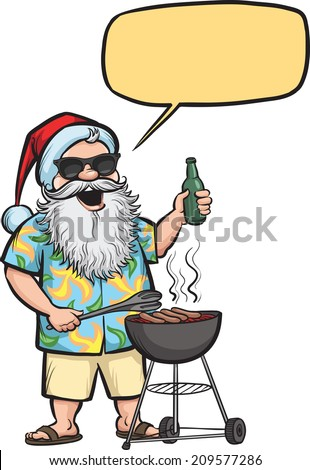 Grilling  Santa with barbecue and beer - stock photo