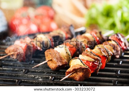 beef shish kabobs on grill stock photo 98494016 shutterstock. Black Bedroom Furniture Sets. Home Design Ideas