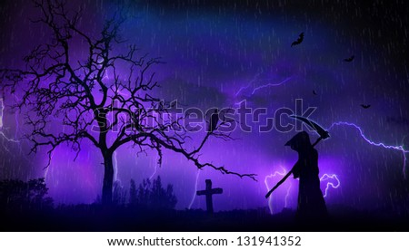 Grim reaper and scary landscape during a storm