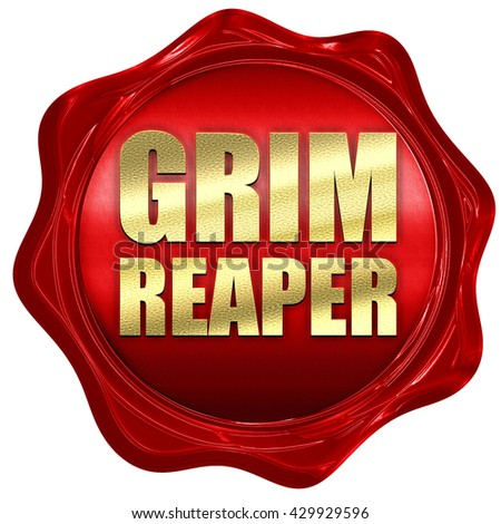 grim reaper, 3D rendering, a red wax seal - stock photo