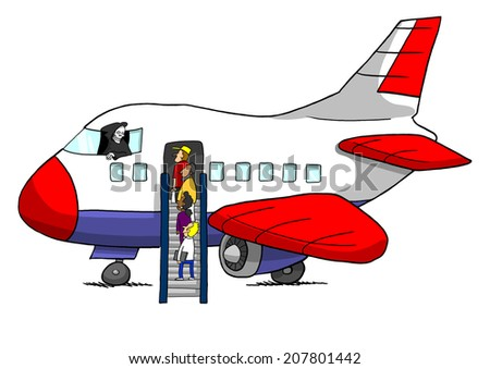 Grim Reaper On Airplane With Passengers Boarding - stock photo