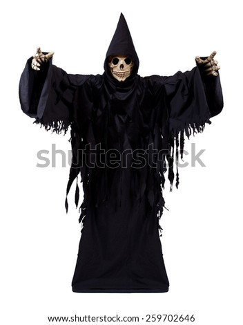 Grim Reaper on white background - stock photo