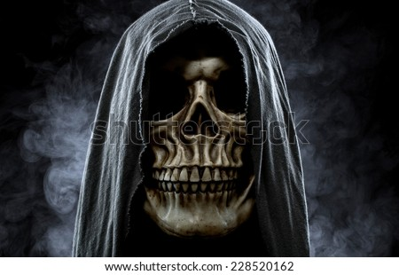 Grim reaper, portrait of a skull in the hood over black, foggy background - stock photo