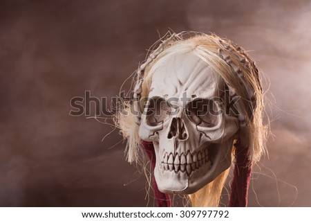Grim reaper skull on a smoky background - stock photo