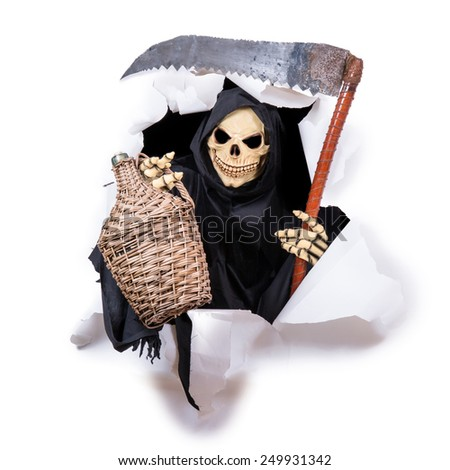 Grim Reaper with a scythe and carboys in the hole - stock photo