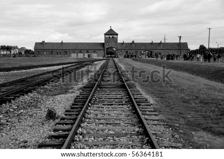 Grim scenes from Auschwitz-Birkenau Concentration Camps, Poland - stock photo