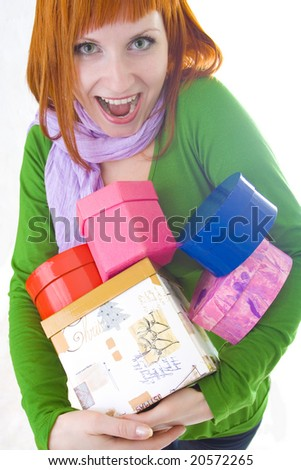 grimacing girl with many gift - stock photo