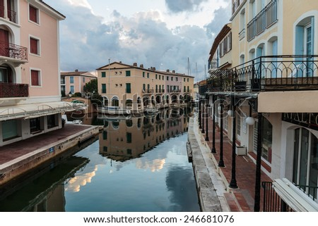 GRIMAUD, FRANCE - NOVEMBER 3, 2014: Street canals in Port - stock photo