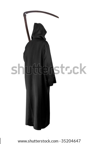 Grimm Reaper on white background - stock photo